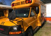 exterior of blue bird mini school bus