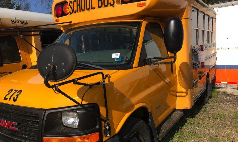 exterior of blue bird mini school bus